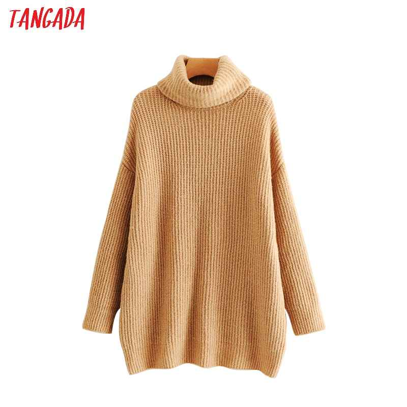 Sweaters tangada women solid jumpers turtleneck sweaters oversize autumn winter