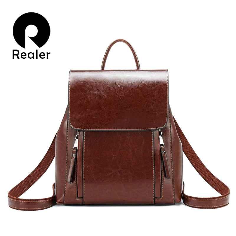 Retro Women Backpack School Bags For Teenager Girls Leather School