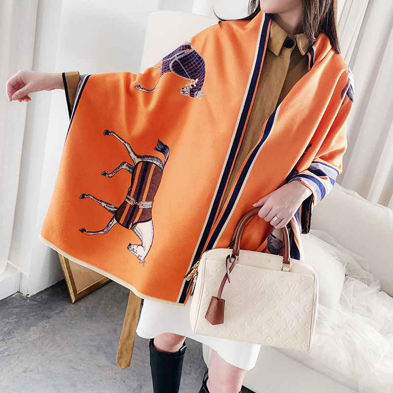 Fashion Winter Scarf Women Cashmere Warm Pashmina Foulard Lady Luxury