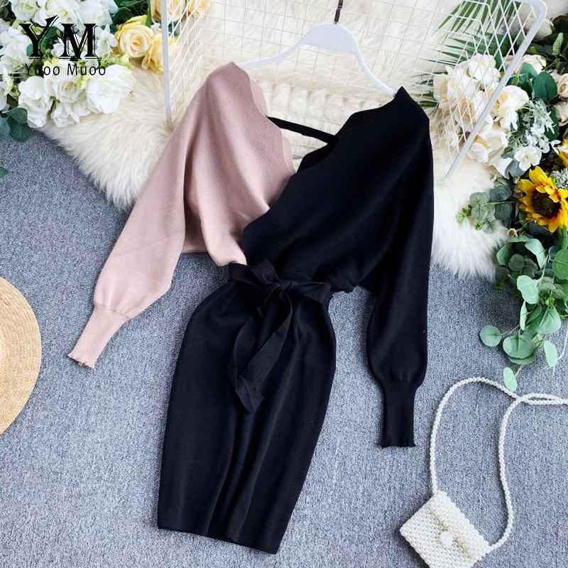 Womens Sets Yuoomuoo Elegant Sashes V Neck Knit Dress Women