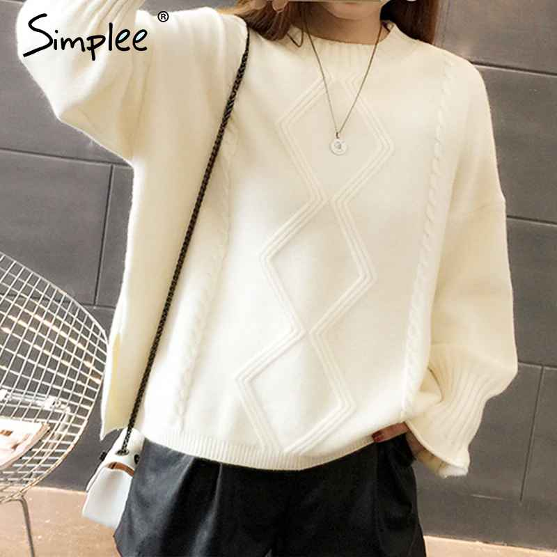 Pullover Jumpers Simplee Women Elegant Soft Pullover Sweater Falbala Geometric