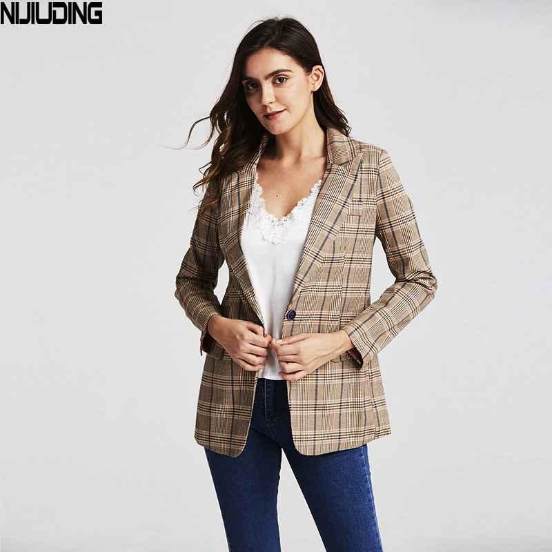 Blazers 2019 vintage single button plaid womens blazer pockets jackets