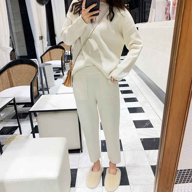 Womens Sets Women Sweater Two Piece Knitted Sets Slim Tracksuit