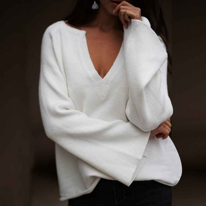 Pullover Jumpers Simplee V-Neck Knitted Winter Sweater Women Elegant Flare