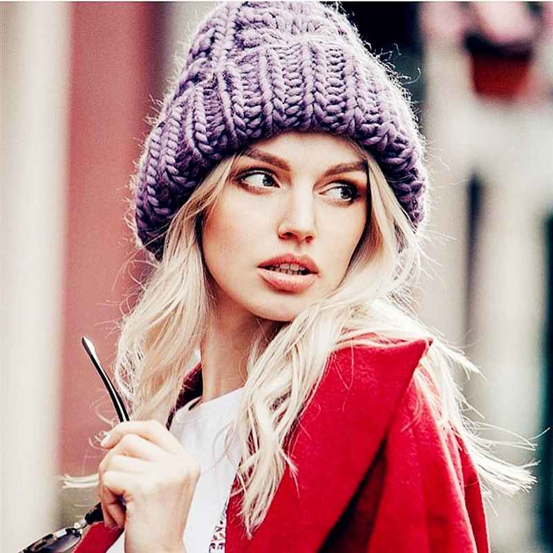 Women Winter Knitted Beanies Hat Thick Soft Warm Coarse Large