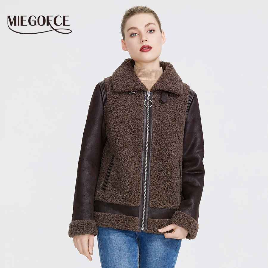 Miegofce 2019 New Winter Women Collection Faux Fur Jacket Women