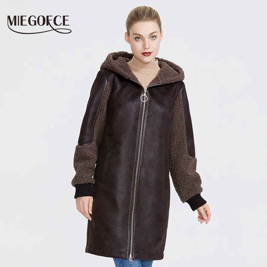 Miegofce 2019 New Winter Women Collection Faux Fur Jacket Ladies