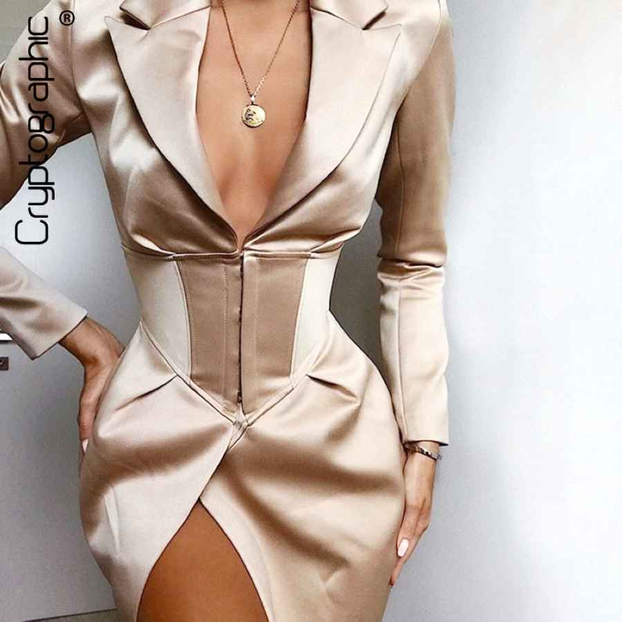Cryptographic Deep V Neck Long Blazers Coats And Jackets Women