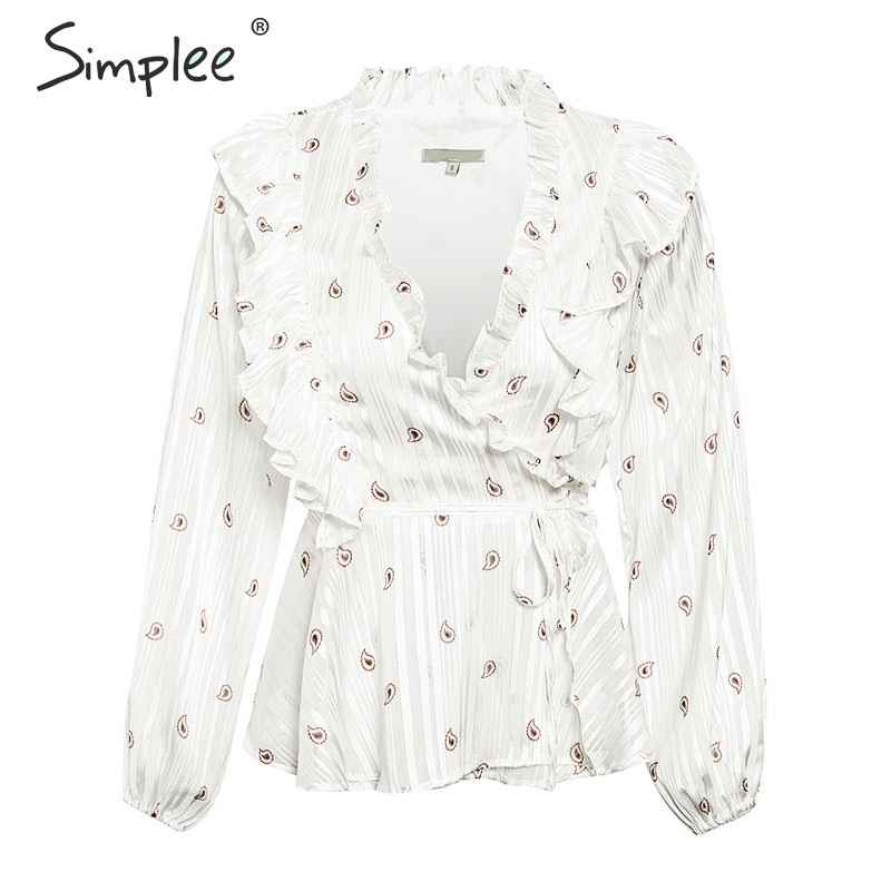 Blouses Shirts Simplee Ruffled V-Neck Women Blouse Shirt Side Lace