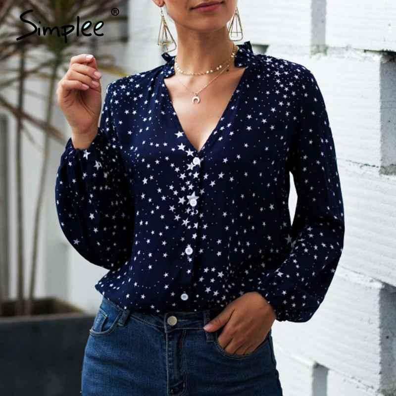 Blouses Shirts Simplee V-Neck Women Autumn Blouse Elegant Star Print