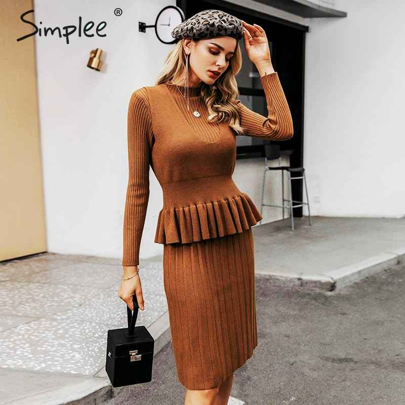 Autumn Winter Dresses Simplee Women Elegant Knitted Striped Dress A-Line