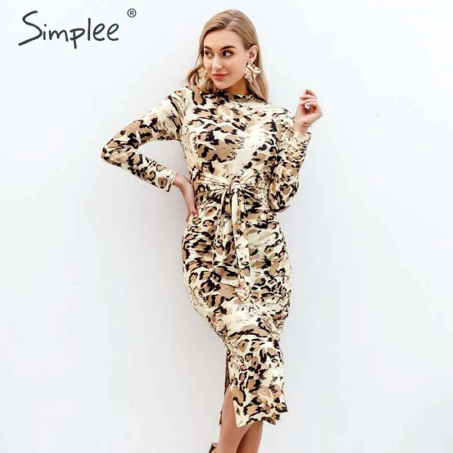 Snake Print Women Dress Plus Size Chic Long Sleeve Party