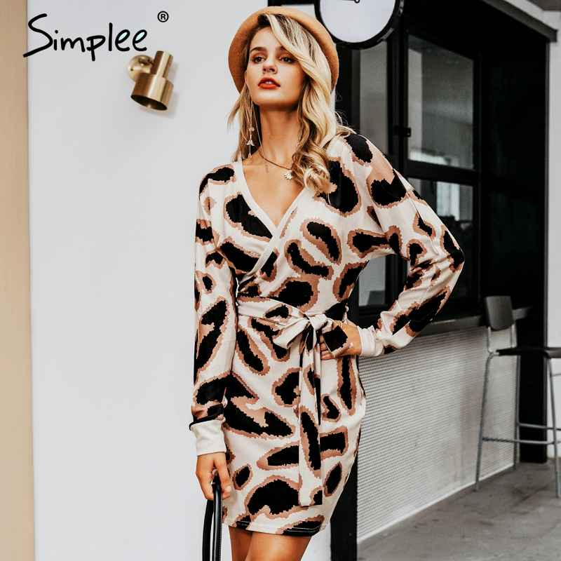 Autumn Winter Dresses Simplee V-Neck Women Dress High Waist Bow