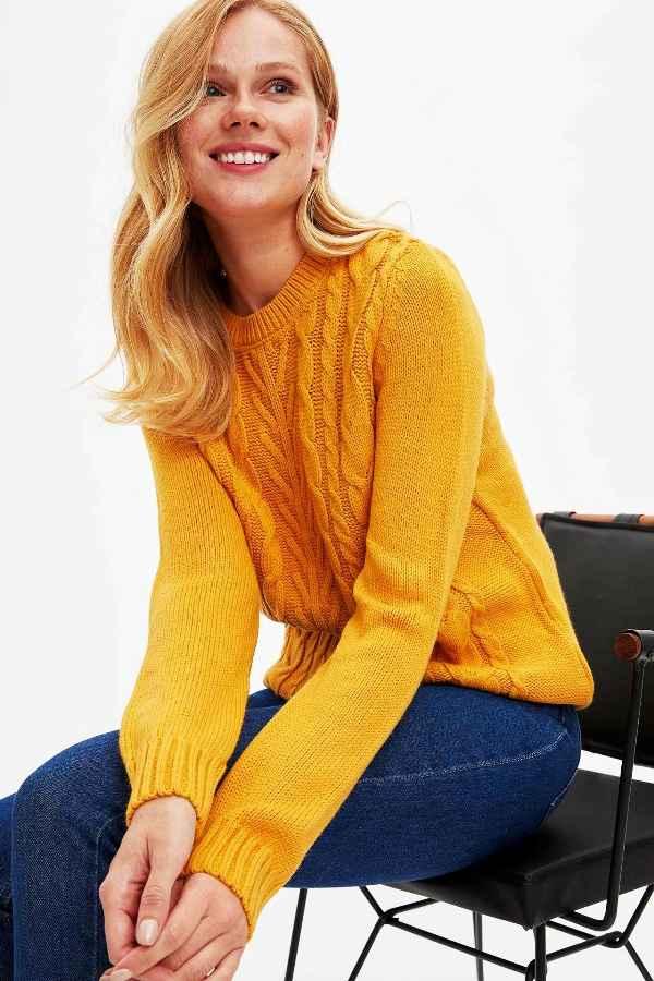 Defacto Women Joker O-Neck Pullovers Sweatshirt Casual Simple Pullover Long