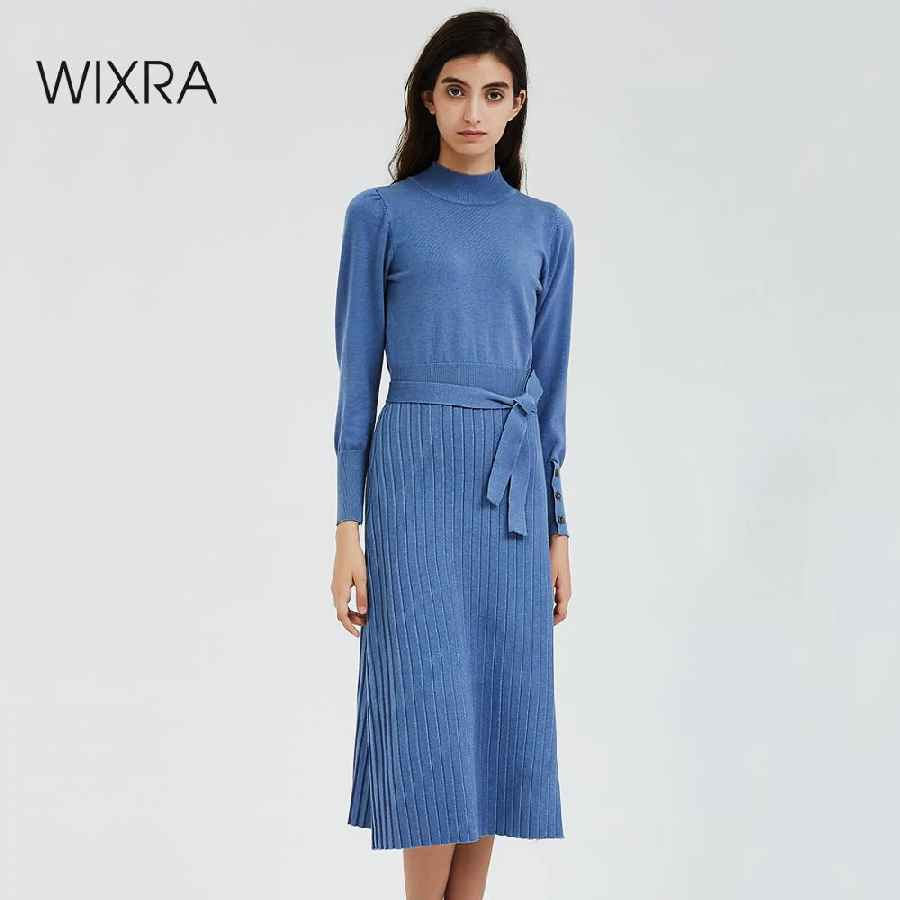 Sweaters wixra sweater dresses elegant turtleneck long sleeve knee-length lady