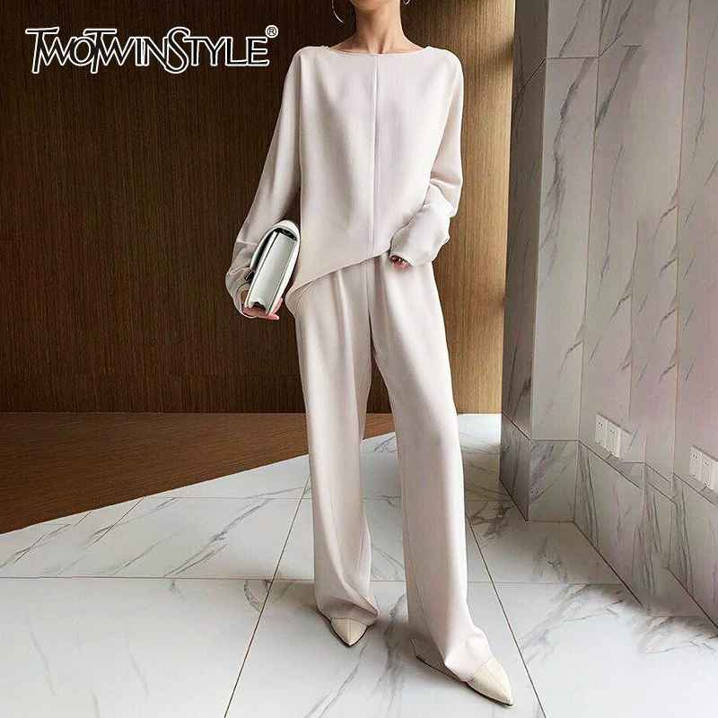 Solid Casual Women Two Piece Set O Neck Long Sleeve