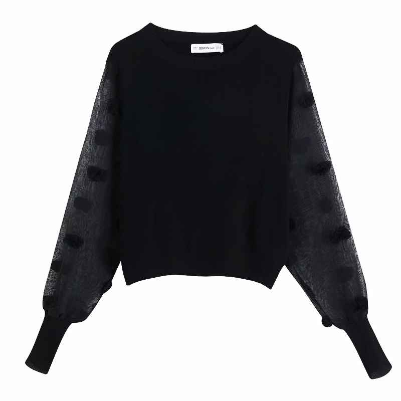 Blouses 2019 women fashion transparent sleeve patchwork black knitting blouses