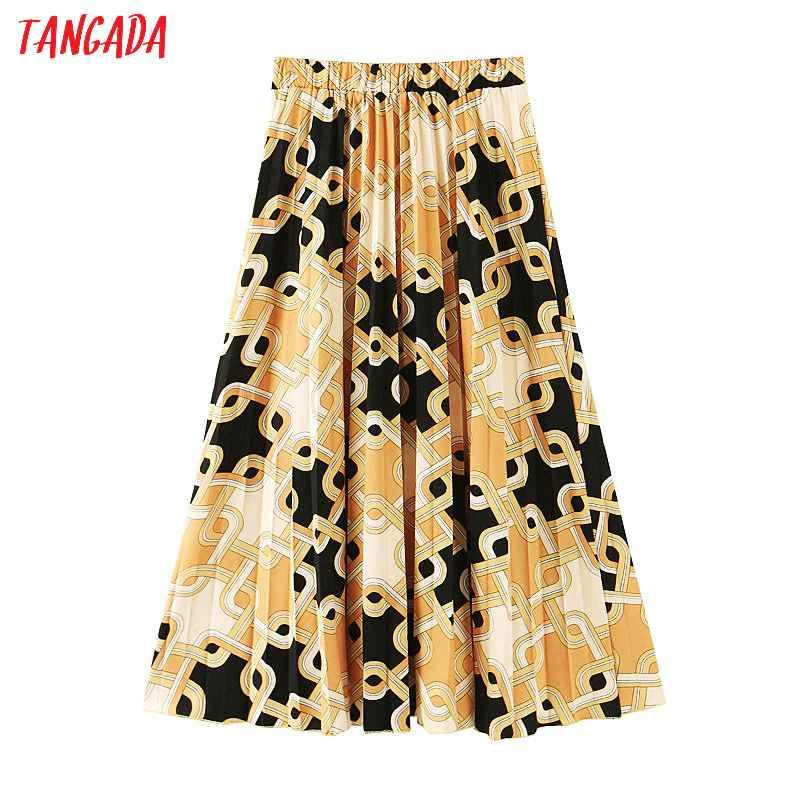 Skirts tangada women chain print skirt high waist side open