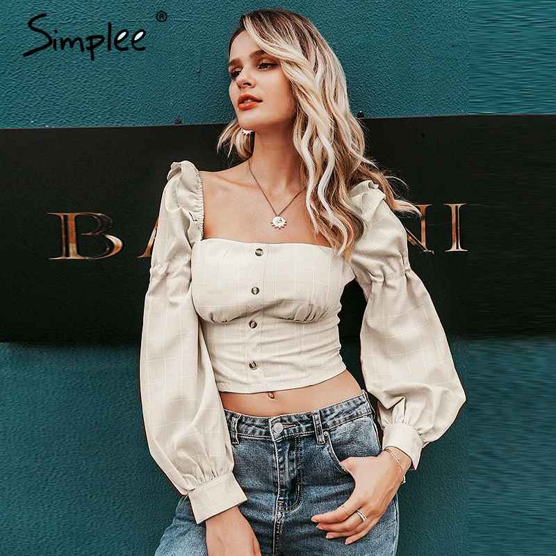 Blouses Shirts Simplee Ruffled Off Shoulder Women Crop Tops Autumn