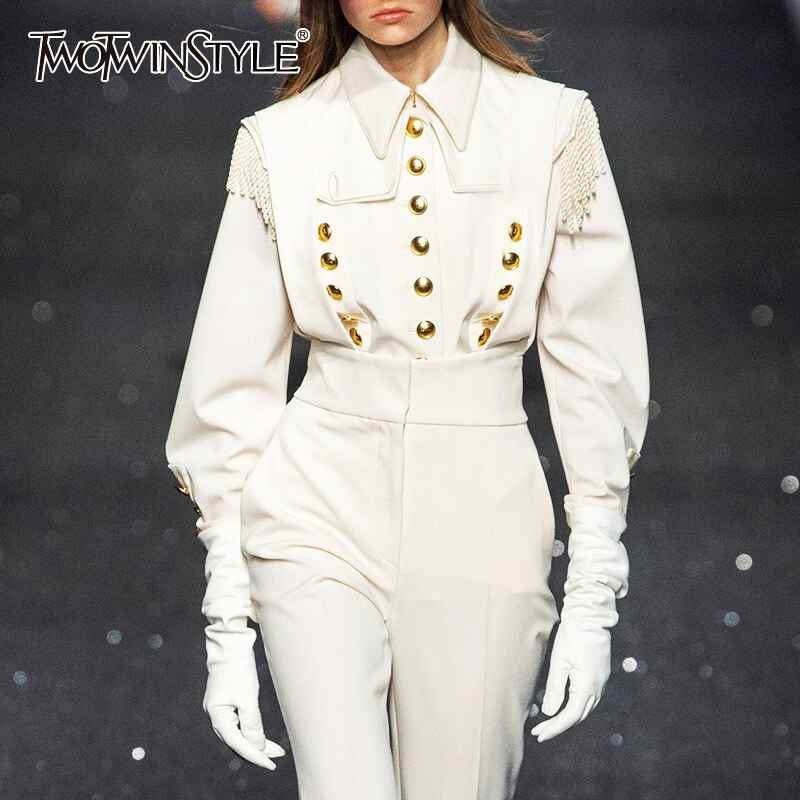 Vintage White Patchwork Rivets Women's Shirts Lapel Collar Long Sleeve