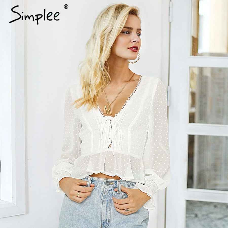 Lace Up V-Neck Women Blouse Shirt Dot Print Female Chiffon