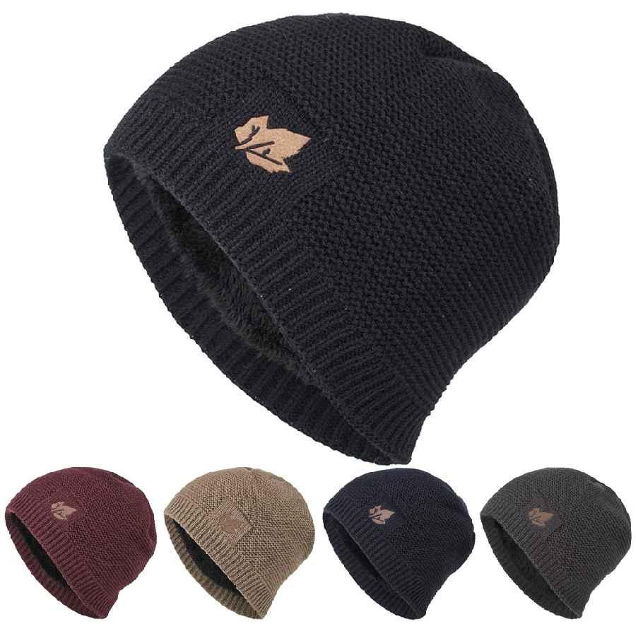 2019 New Unisex Fleece Lined Beanie Hat Knit Wool Warm