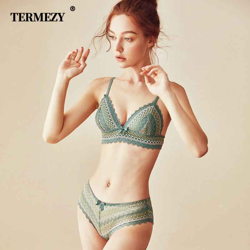 Termezy Sexy Lace 34 Cup Bra Sets For Women Wireless