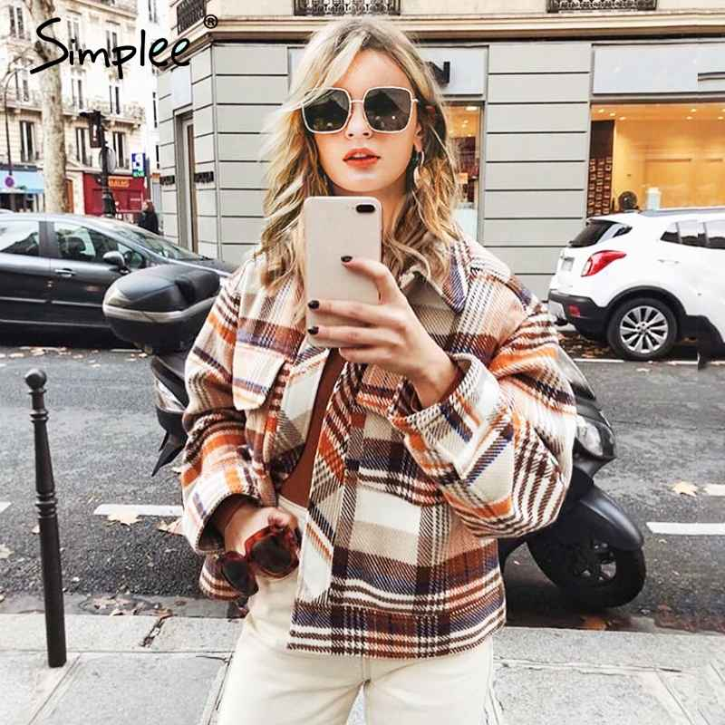 Single Breasted Women Plaid Jacket Coat Long Sleeve Casual Autumn