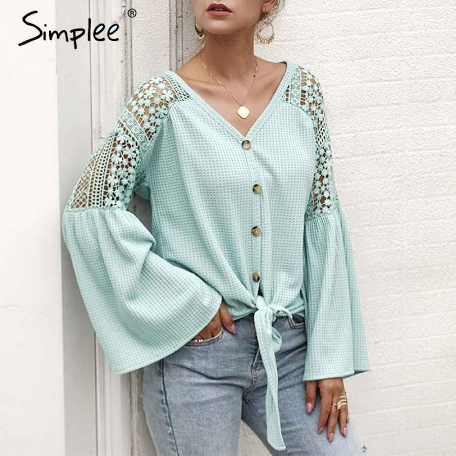 V-Neck Women Blouse Elegant Lace Embroidery Hollow Out Loose Sleeve