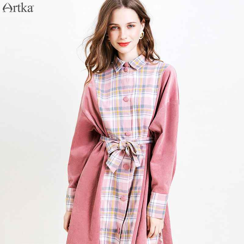 Artka 2019 Autumn Winter New Women Dress Casual Corduroy Plaid