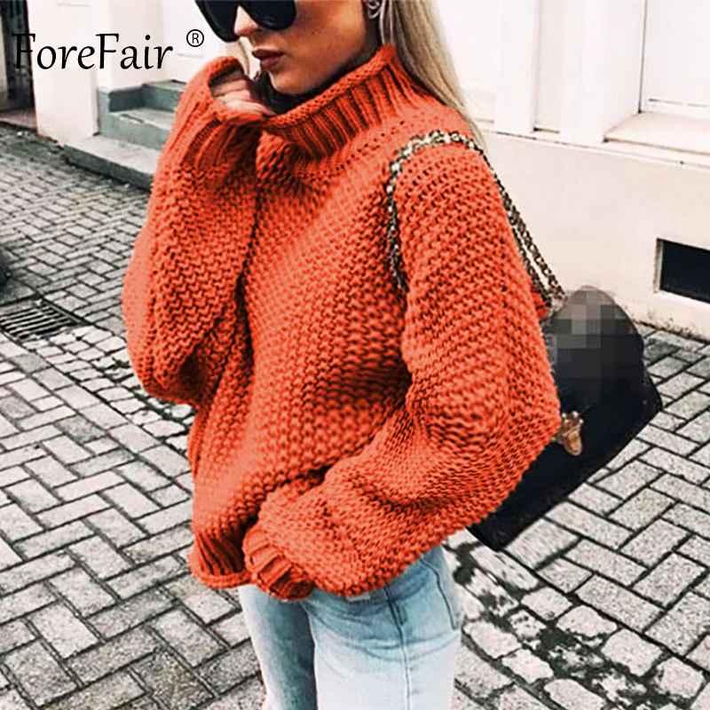Sweaters forefair oversize turtleneck knitted sweater winter knitwear plus size