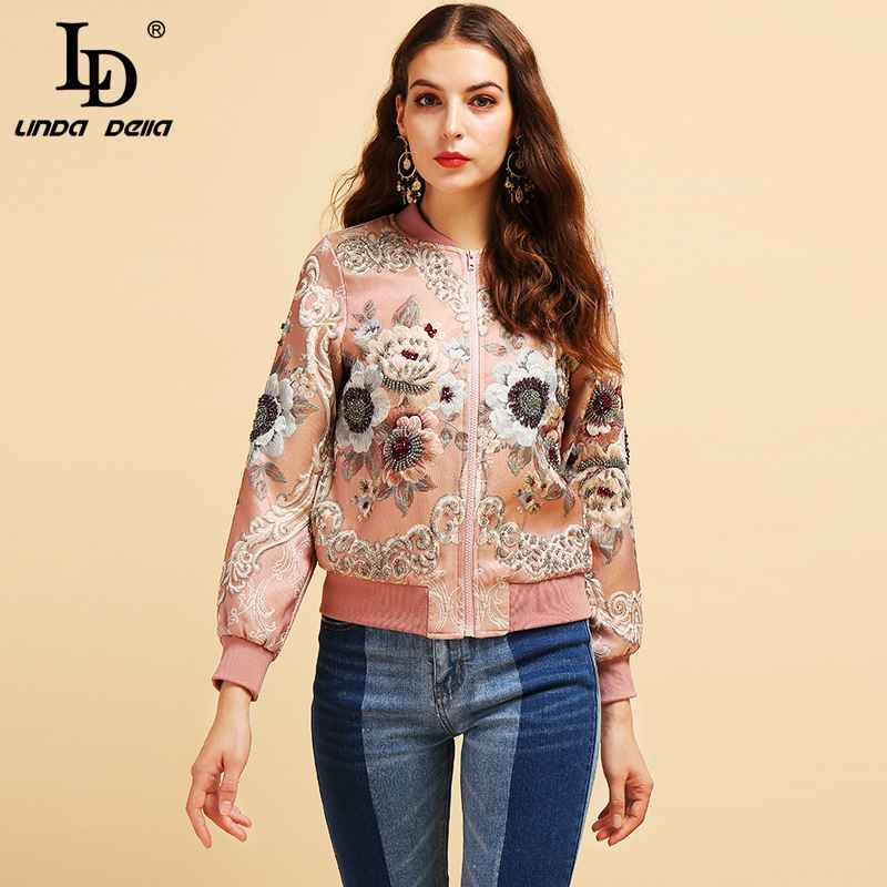 Fashion Runway Autumn Winter Vintage Jackets Women's Gorgeous Beading Jacquard