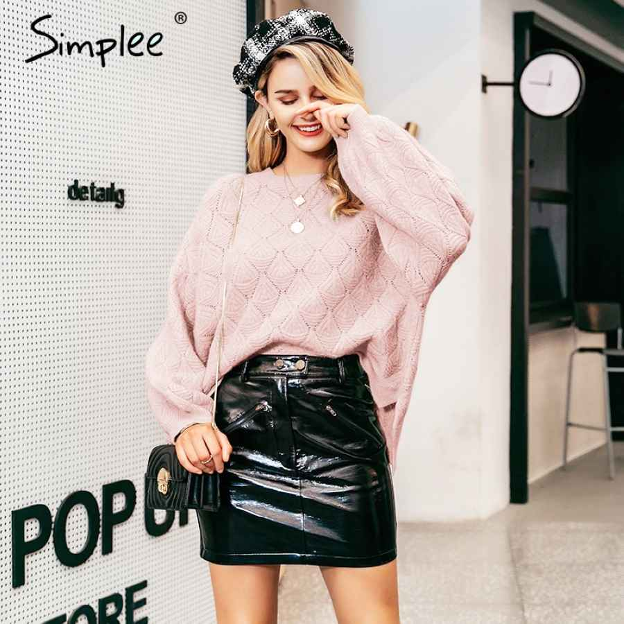 O-Neck Knitted Women Pullover Sweater Autumn Winter Puff Sleeve Female