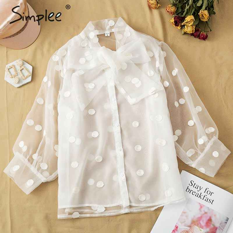Blouses Shirts Simplee Women White Blouse Elegant Lace Dot Lantern