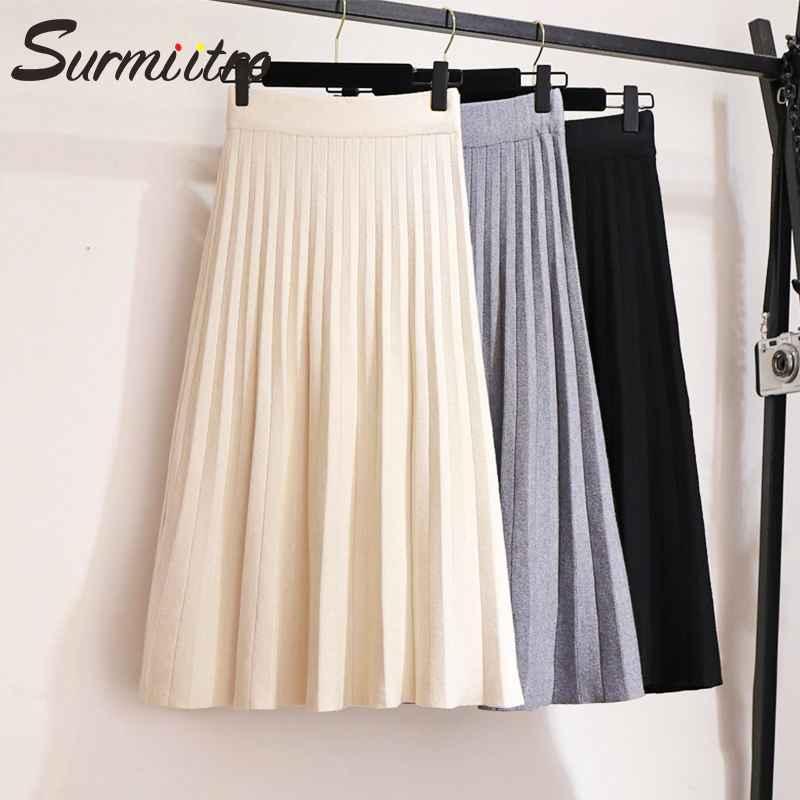 Skirts surmiitro knitted midi pleated skirt women for autumn winter