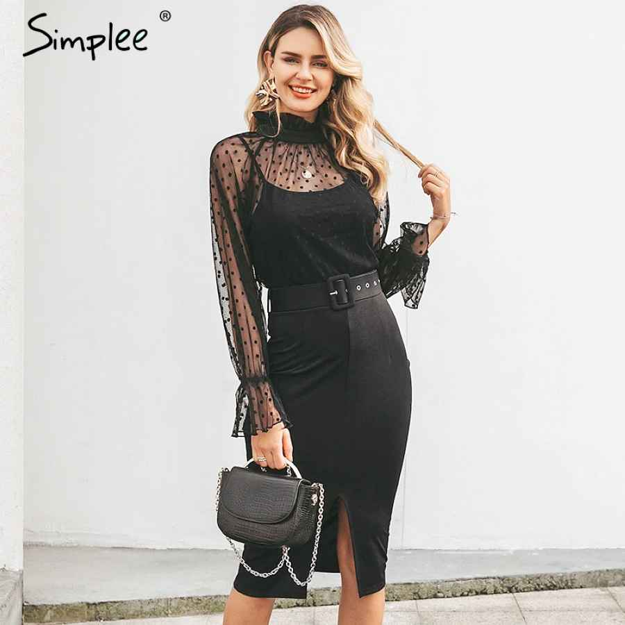 Striped Lace Women Dress Black Polka Dots Belt Sheath Party