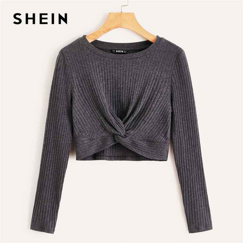 Solid Twist Front Rib-Knit Crop Top Fitted T Shirt Women