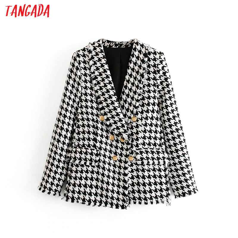 Blazers tangada women thick tweed coats jacket long sleeves button
