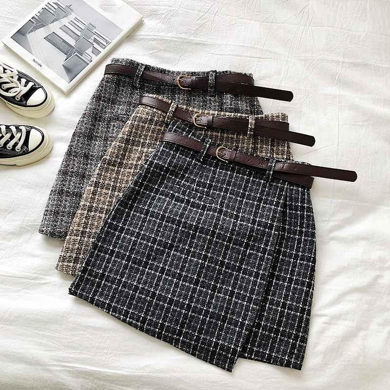Skirts korean irregular lady skirt female autumn sweet high waist