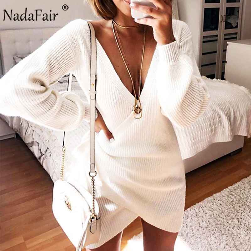 Sweaters nadafair v neck tunic white sweater dress autumn long