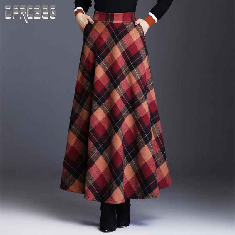 Skirts new autumn elegant plaid womens elastic waist long woolen