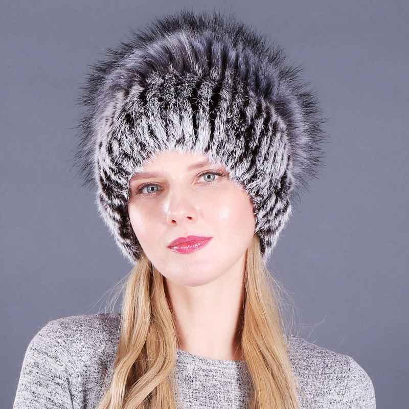 Good Elastic Natural Fluffy Faux Silver Fox Fur Hat New