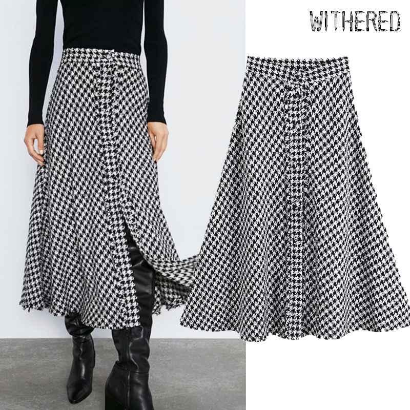 Skirts withered england elegant vintage tweed houndstooth high waist a-line