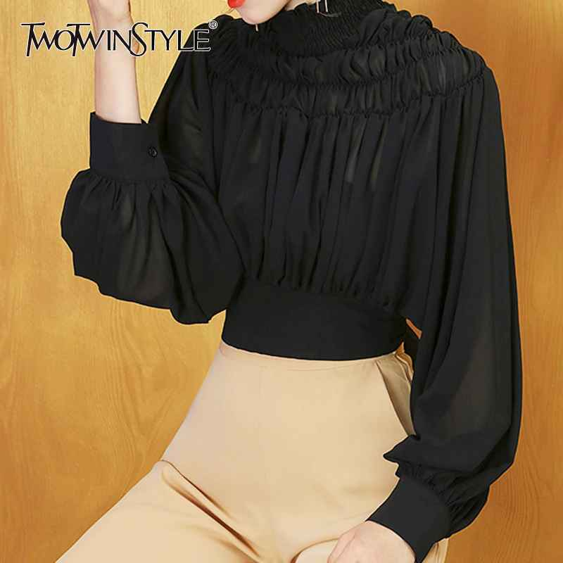 Bohemian Bowknot Female Shirts Stand Collar Lantern Long Sleeve Ruched