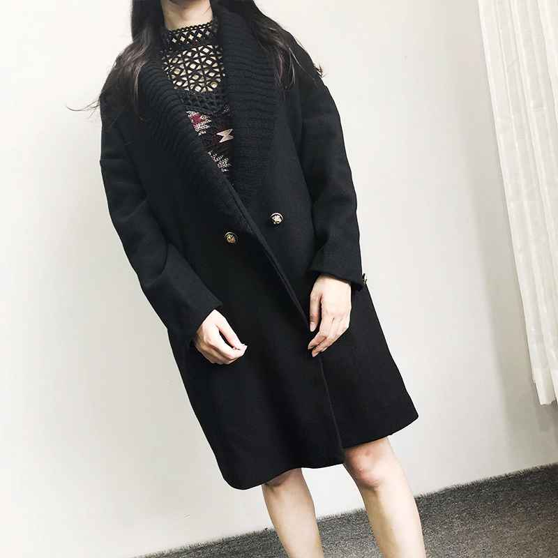 Fashion Streetwear Long Winter Fashion Wool Coats Double Breasted Wool