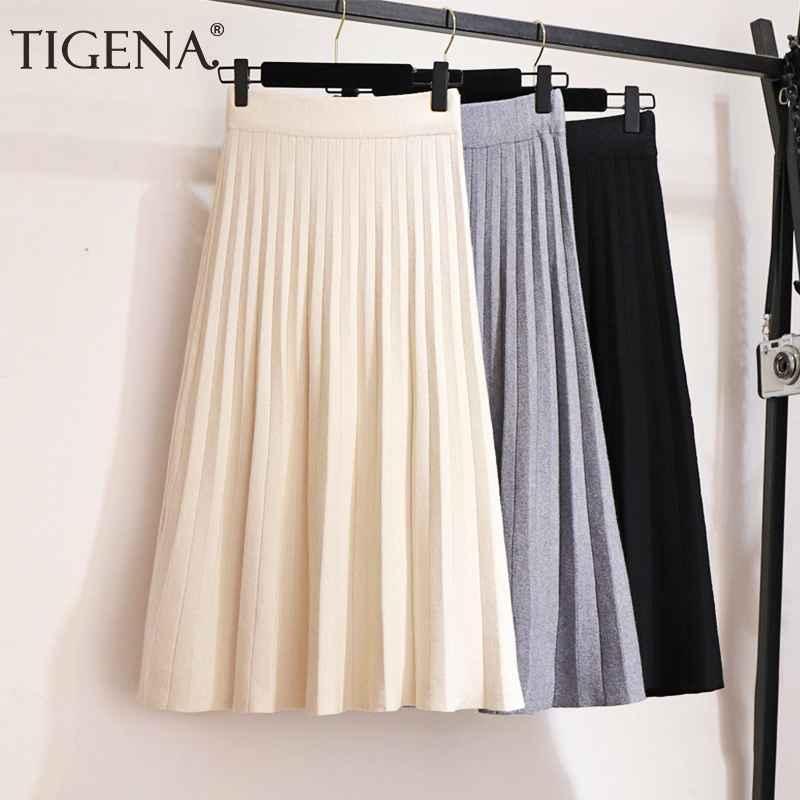 Skirts tigena elegant midi pleated knitted skirt women 2019 autumn