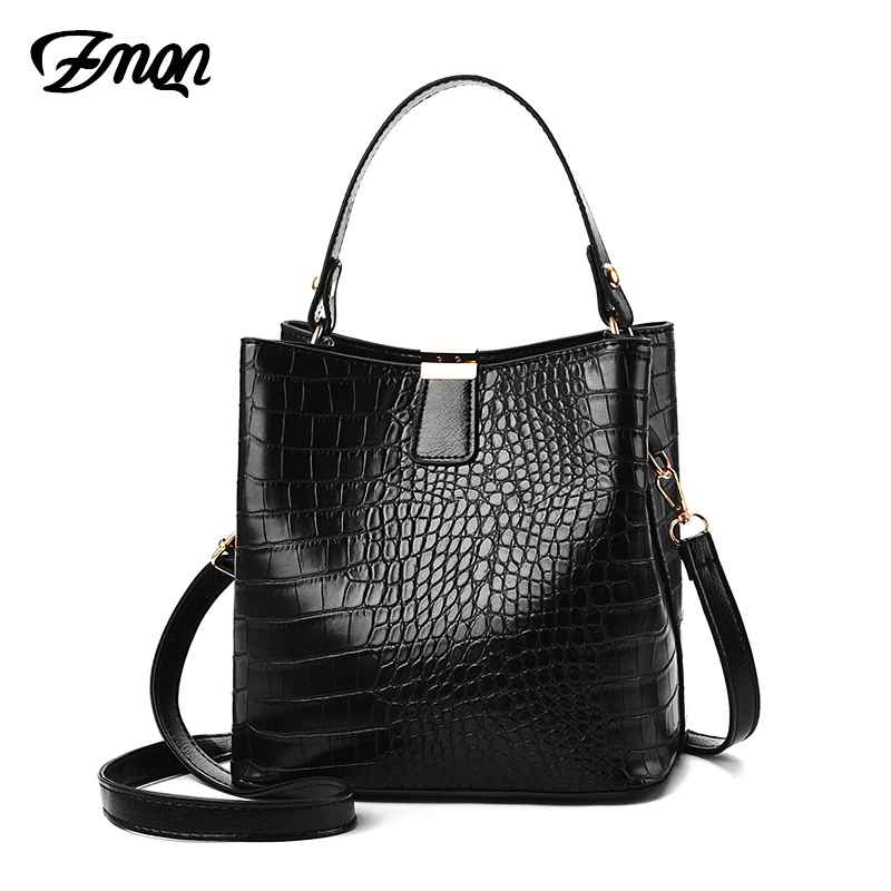 Black Bucket Bags Women Crocodile Leather Crossbody Bags Luxury Handbags