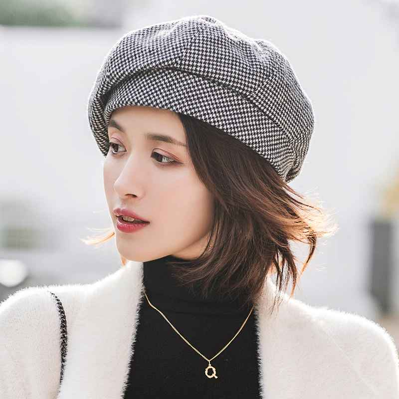 Simple Women Wool Beret For Elegant Lady Winter Female Cotton