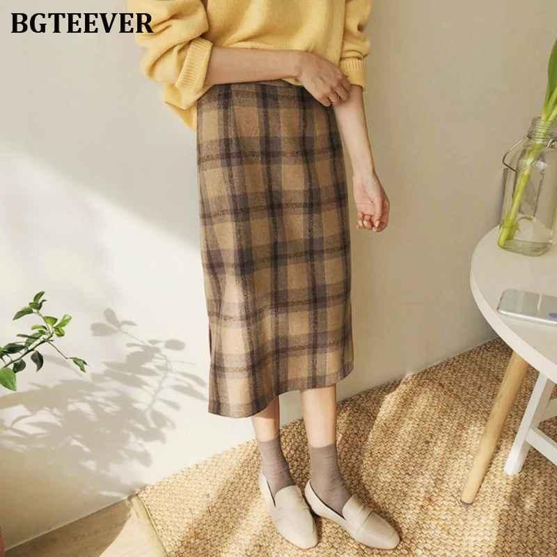 Skirts bgteever vintage long plaid skirt women autumn winter high