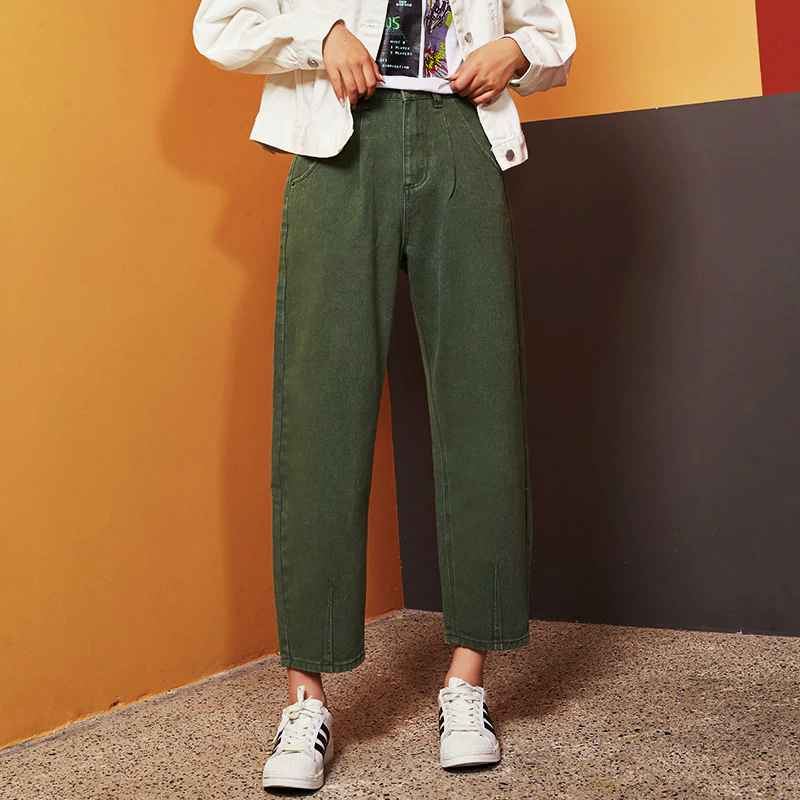 Jeans leijijeans new 2019 black large size womens non-elastic high